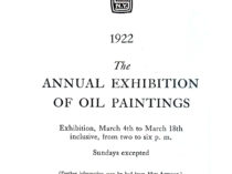 """""""1922 the annual exhibition of oil paintings"""", March 4-18, 1922."""